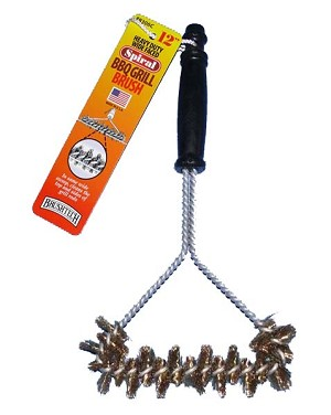 "12"" Spiral Wide Faced BBQ Grill Brush"
